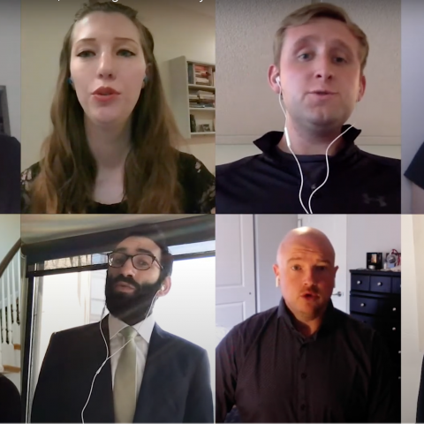 Members of the Department of Music sing the Washington University alma mater over Zoom